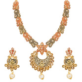 Craftsvilla Round Pendant Gold Plated Alloy Geometric Design Strand Necklace Set