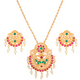 Craftsvilla Gold Plated Pearl And Stones Attractive Heavy Necklace Set