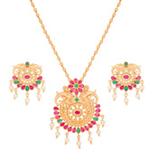 Craftsvilla American Diamond Pearl And Stones Heavy Necklace Set