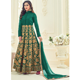 Craftsvilla Green Color Silk Embroidered Circular Semi-stitched Anarkali Suit