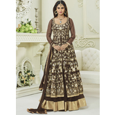 Craftsvilla Brown Color Silk Embroidered Circular Semi-stitched Anarkali Suit