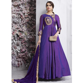 Craftsvilla Purple Color Silk Embroidered Circular Semi-stitched Anarkali Suit