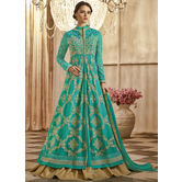 Craftsvilla Sky Blue Color Georgette Embroidered Circular Semi-stitched Anarkali Suit