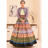 Craftsvilla Multicolor Silk Printed Circular Semi-stitched Anarkali Suit