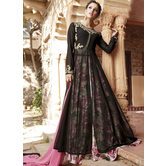 Craftsvilla Brown Color Georgette Embroidered Circular Semi-stitched Anarkali Suit