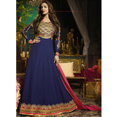 Craftsvilla Navy Color Georgette Embroidered Circular Semi-stitched Anarkali Suit