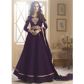 Craftsvilla Violet Color Silk Embroidered Semi-stitched Circular Anarkali Suit