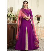 Craftsvilla Pink Color Silk Embroidered Circular Semi-stitched Anarkali Suit