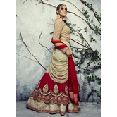 Craftsvilla Beige Color Georgette Embroidered Designer Lehenga Choli