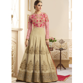 Craftsvilla Beige Color Silk Embroidered Semi-stitched Circular Anarkali Suit