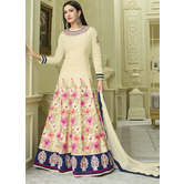 Craftsvilla Ivory Color Silk Embroidered Semi-stitched Circular Anarkali Suit