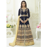 Craftsvilla Navy Color Georgette Embroidered Semi-stitched Circular Anarkali Suit