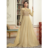 Craftsvilla Beige Color Net Embroidered Circular Semi-stitched Anarkali Suit