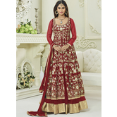 Craftsvilla Red Color Silk Embroidered Circular Semi-stitched Anarkali Suit