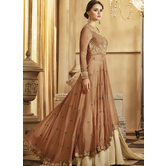 Craftsvilla Brown Color Georgette Embroidered Semi-stitched Circular Anarkali Suit