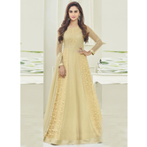 Craftsvilla Beige Color Net Embroidered Semi-stitched Circular Anarkali Suit