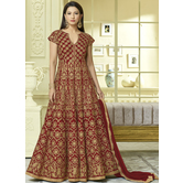 Craftsvilla Red Color Silk Embroidered Semi-stitched Circular Anarkalli Suit
