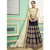 Craftsvilla Navy Blue Color Silk Embroidered Designer Lehenga Choli
