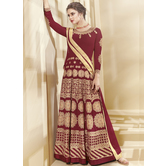 Craftsvilla Red Color Georgette Embroidered Semi-stitched Circular Anarkali Suit