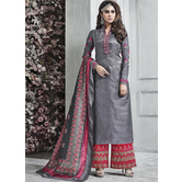 Craftsvilla Grey Color Silk Embroidered Semi-stitched Straight Suit