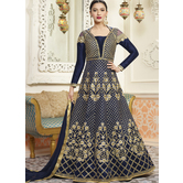 Craftsvilla Navy Color Silk Embroidered Semi-stitched Circular Anarkali Suit