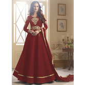 Craftsvilla Red Color Silk Embroidered Semi-stitched Circular Anarkali Suit