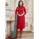 Craftsvilla Red Color Cotton Embroidered Fully Stitched Salwar Suit