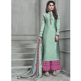 Craftsvilla Green Color Silk Embroidered Semi-stitched Straight Suit