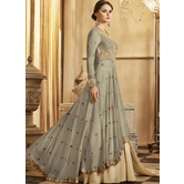 Craftsvilla Grey Color Georgette Embroidered Semi-stitched Circular Anarkali Suit