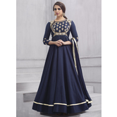Craftsvilla Navy Color Silk Embroidered Circular Semi-stitched Anarkali Suit