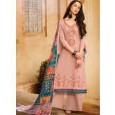 Craftsvilla Pink Color Cotton Embroidered Semi-stitched Straight Suit