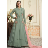 Craftsvilla Green Color Georgette Embroidered Circular Semi-stitched Anarkali Suit