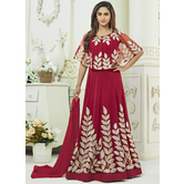 Craftsvilla Maroon Color Georgette Embroidered Semi-stitched Circular Anarkali Suit