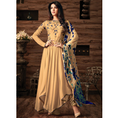 Craftsvilla Beige Color Georgette Embroidered Semi-stitched Circular Anarkali Suit