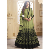 Craftsvilla Green Color Silk Embroidered Semi-stitched Circular Anarkali Suit