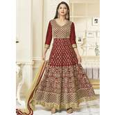 Craftsvilla Maroon Color Silk Embroidered Circular Semi-stitched Anarkali Suit