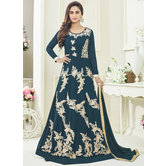 Craftsvilla Teal Blue Color Georgette Embroidered Semi-stitched Circular Anarkali Suit
