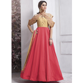 Craftsvilla Peach Color Silk Embroidered Circular Semi-stitched Anarkali Suit