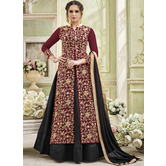 Craftsvilla Maroon Color Georgette Embroidered Circular Semi-stitched Anarkali Suit