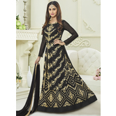 Craftsvilla Black Color Georgette Embroidered Semi-stitched Circular Anarkali Suit