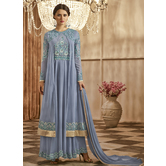 Craftsvilla Grey Color Georgette Embroidered Circular Semi-stitched Anarkali Suit