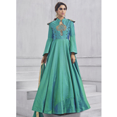 Craftsvilla Turquoise Color Silk Embroidered Circular Semi-stitched Anarkali Suit