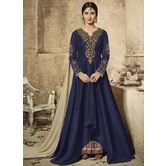 Craftsvilla Blue Color Silk Embroidered Semi-stitched Circular Anarkali Suit