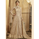 Craftsvilla Beige Color Georgette Embroidered Circular Semi-stitched Anarkali Suit