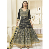 Craftsvilla Black Color Silk Embroidered Circular Semi-stitched Anarkali Suit