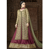 Craftsvilla Green Color Net Embroidered Semi-stitched Circular Anarkali Suit