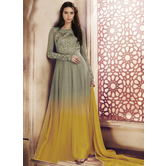 Craftsvilla Grey Color Net Embroidered Semi-stitched Circular Anarkali Suit