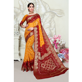 Craftsvilla Orange Art Silk Designer Handpainted Saree With Unstitched Blouse Piece