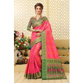 Craftsvilla Pink Color Cotton Silk Patola Traditional Saree With Unstitched Blouse Material