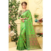 Craftsvilla Green Color Cotton Silk Patola Traditional Saree With Unstitched Blouse Material